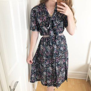 Vintage Pussy Bow Micro Floral Pleated Midi Dress